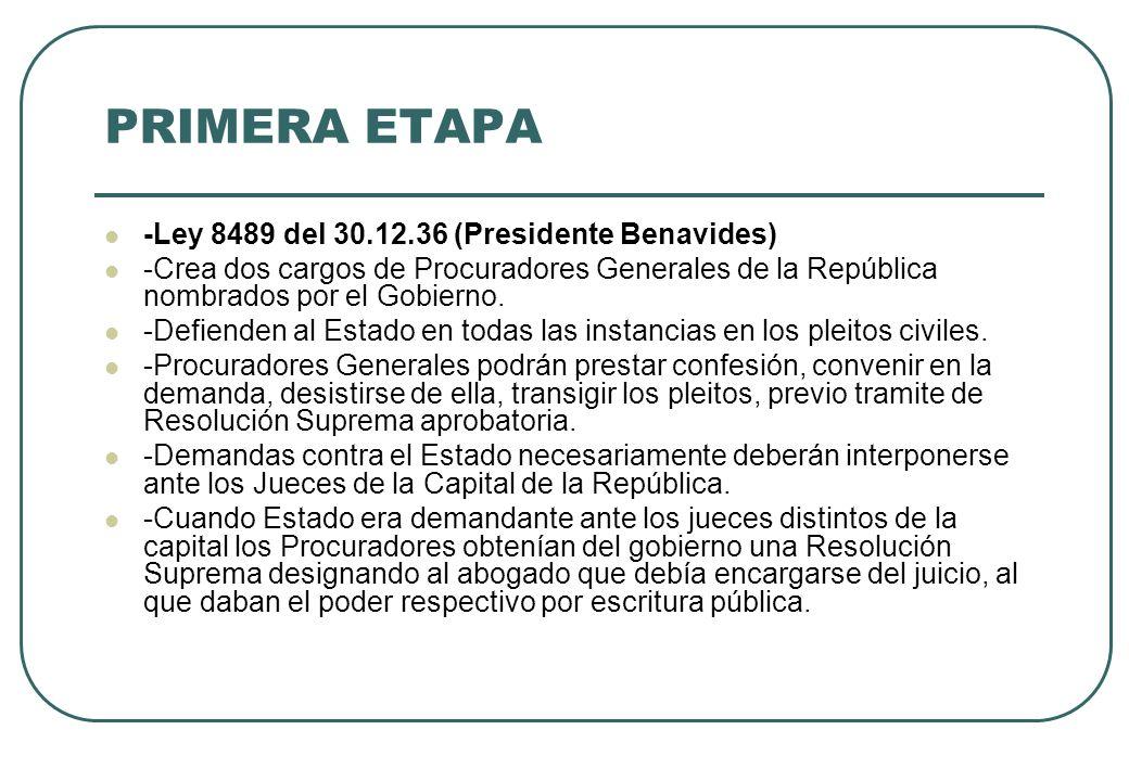 PRIMERA ETAPA -Ley 8489 del 30.12.36 (Presidente Benavides) -Crea dos cargos de Procuradores Generales de la República nombrados por el Gobierno. -Def