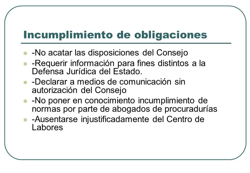 Incumplimiento de obligaciones -No acatar las disposiciones del Consejo -Requerir información para fines distintos a la Defensa Jurídica del Estado. -