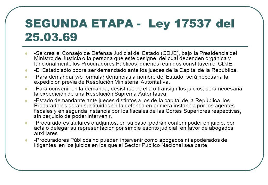 SEGUNDA ETAPA - Ley 17537 del 25.03.69 -Se crea el Consejo de Defensa Judicial del Estado (CDJE), bajo la Presidencia del Ministro de Justicia o la pe