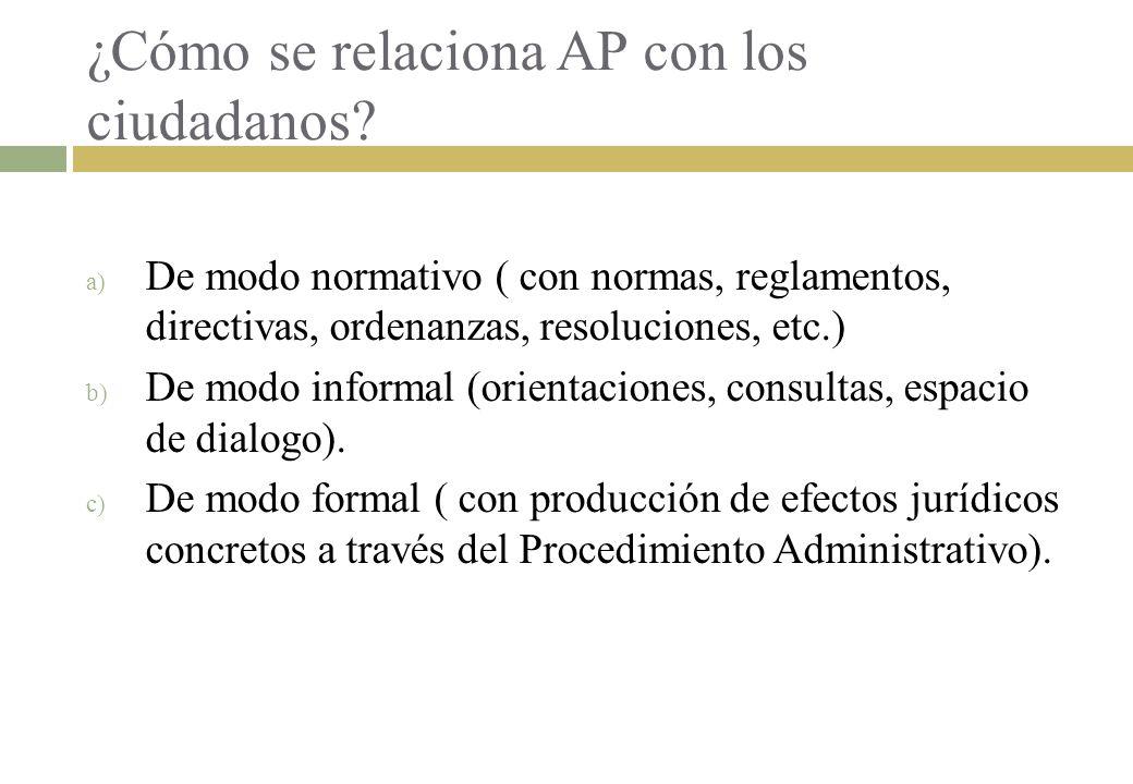¿Cómo se relaciona AP con los ciudadanos? a) De modo normativo ( con normas, reglamentos, directivas, ordenanzas, resoluciones, etc.) b) De modo infor