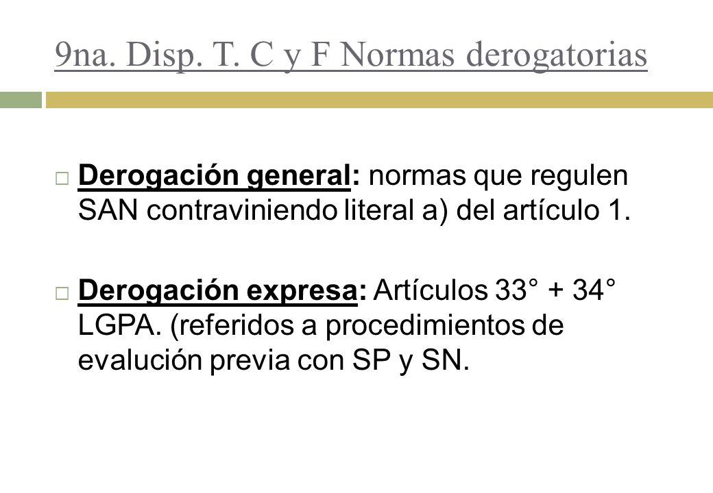 9na. Disp. T. C y F Normas derogatorias Derogación general: normas que regulen SAN contraviniendo literal a) del artículo 1. Derogación expresa: Artíc