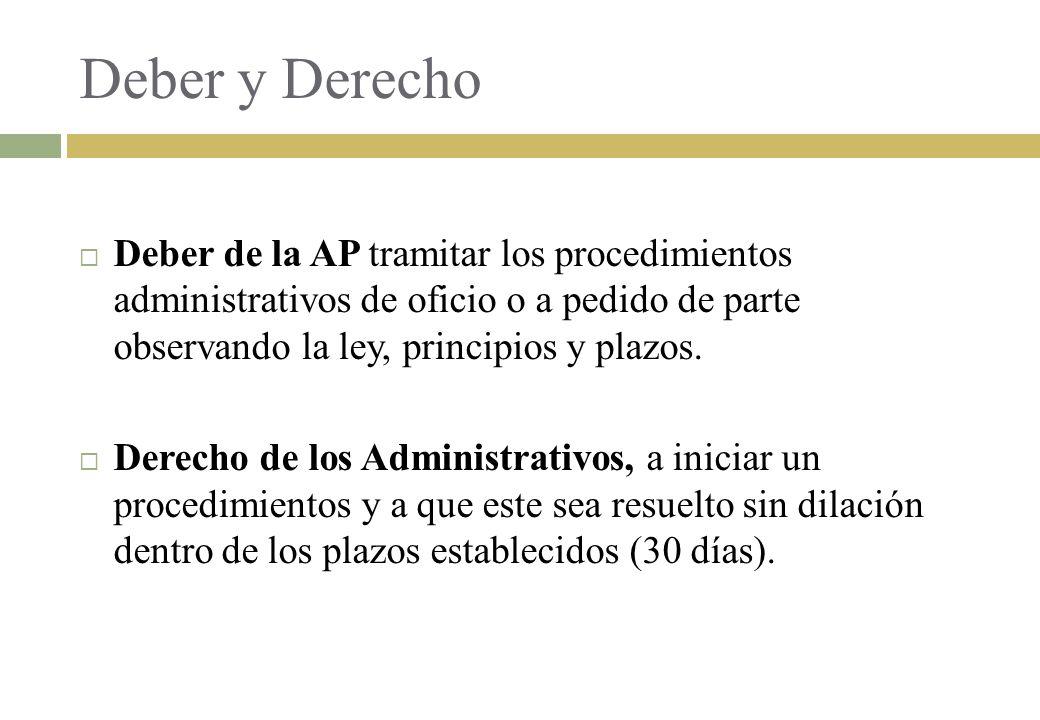 Deber y Derecho Deber de la AP tramitar los procedimientos administrativos de oficio o a pedido de parte observando la ley, principios y plazos. Derec