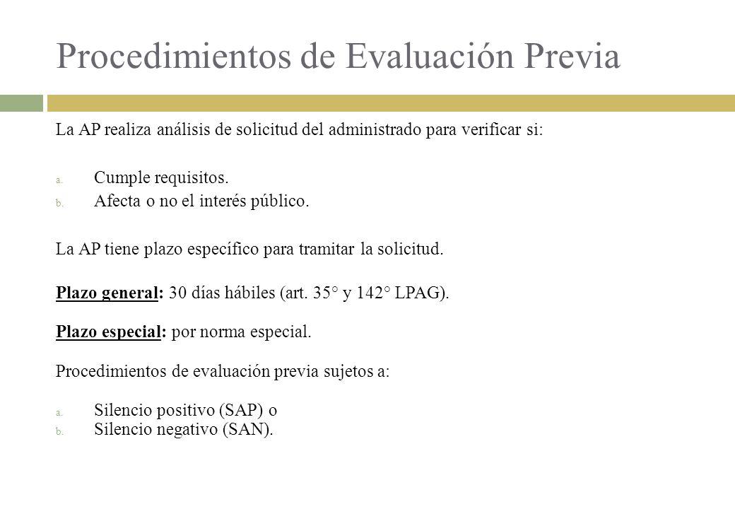 Procedimientos de Evaluación Previa La AP realiza análisis de solicitud del administrado para verificar si: a. Cumple requisitos. b. Afecta o no el in