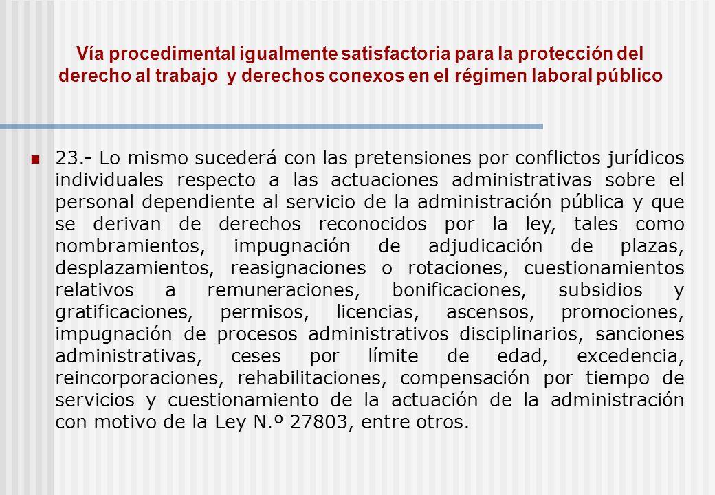 Vía procedimental igualmente satisfactoria para la protección del derecho al trabajo y derechos conexos en el régimen laboral público 23.- Lo mismo su