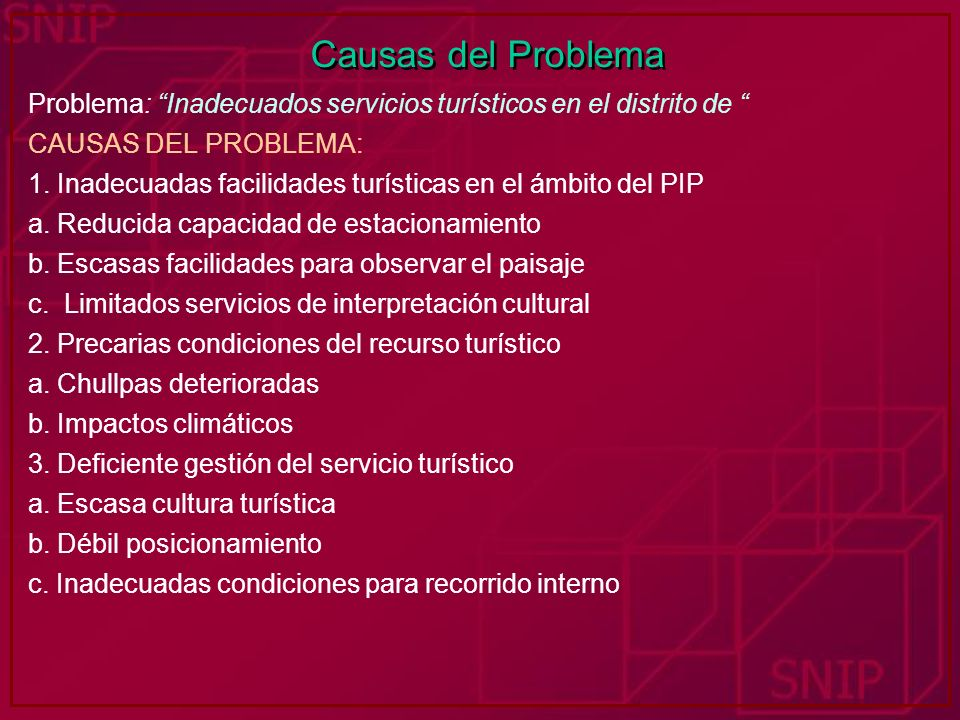 Causas del Problema Problema: Inadecuados servicios turísticos en el distrito de CAUSAS DEL PROBLEMA: 1. Inadecuadas facilidades turísticas en el ámbi