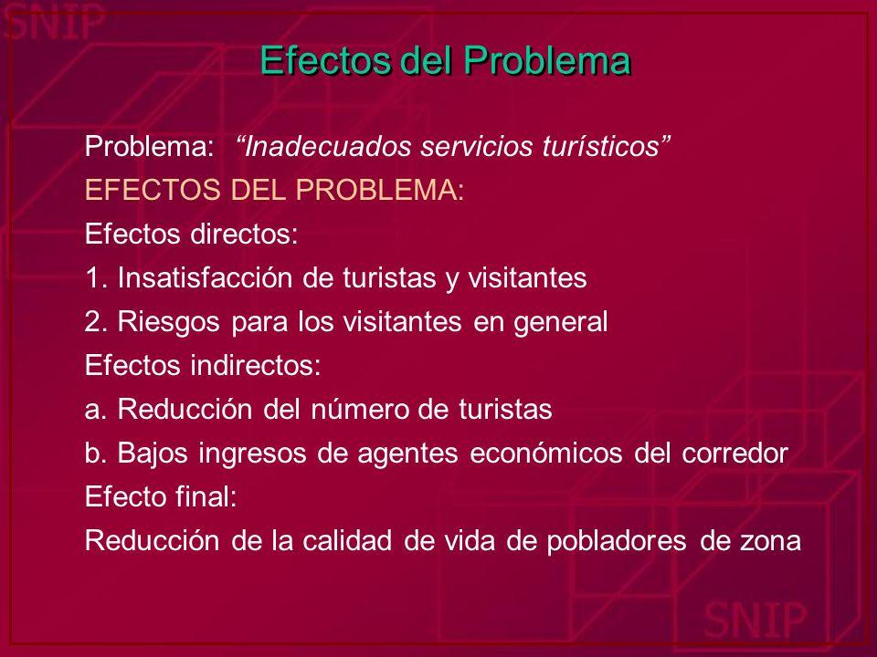 Efectos del Problema Problema: Inadecuados servicios turísticos EFECTOS DEL PROBLEMA: Efectos directos: 1. Insatisfacción de turistas y visitantes 2.