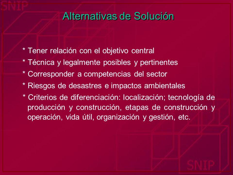 Alternativas de Solución * Tener relación con el objetivo central * Técnica y legalmente posibles y pertinentes * Corresponder a competencias del sect