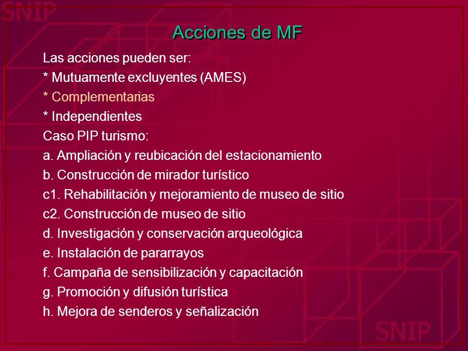 Acciones de MF Las acciones pueden ser: * Mutuamente excluyentes (AMES) * Complementarias * Independientes Caso PIP turismo: a. Ampliación y reubicaci
