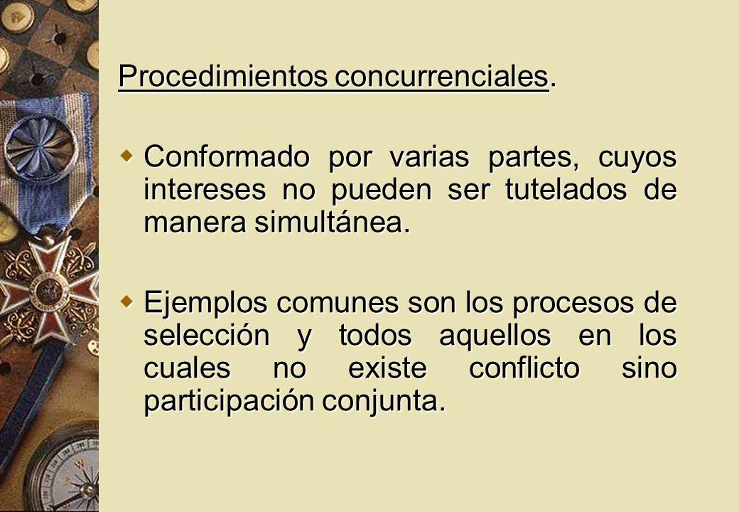 Procedimientos concurrenciales. Conformado por varias partes, cuyos intereses no pueden ser tutelados de manera simultánea. Conformado por varias part