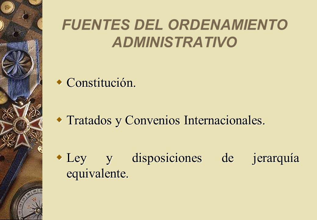 FUENTES DEL ORDENAMIENTO ADMINISTRATIVO Constitución. Constitución. Tratados y Convenios Internacionales. Tratados y Convenios Internacionales. Ley y