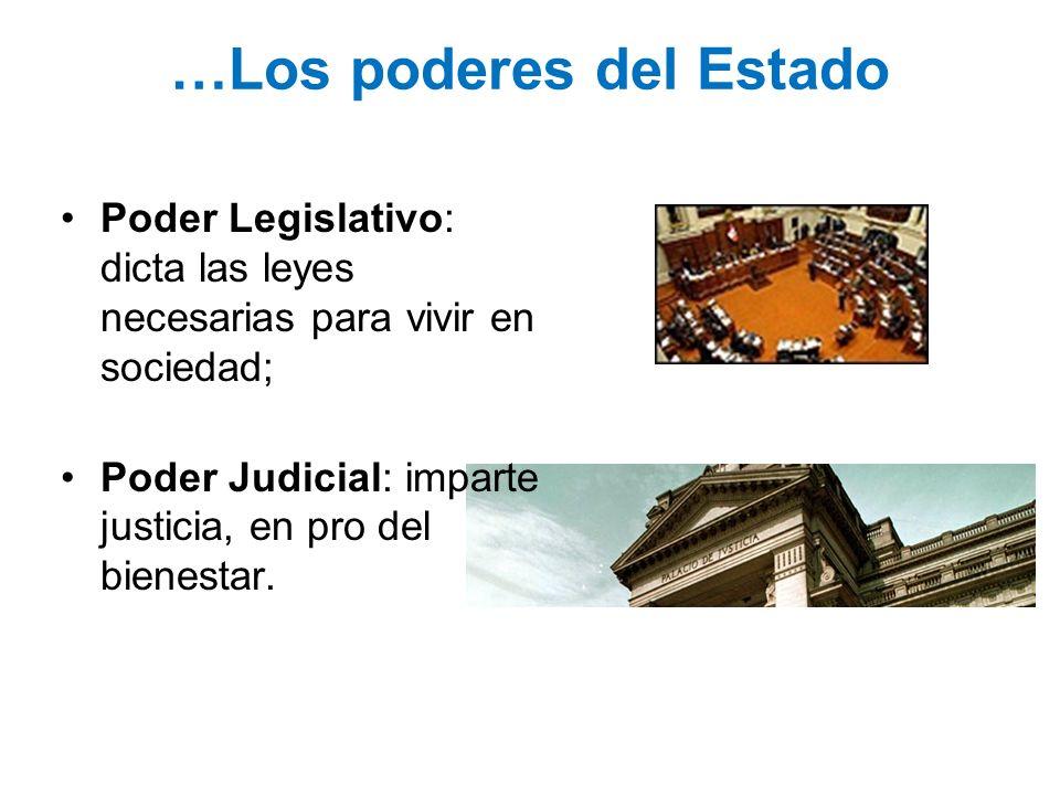 …Los poderes del Estado Poder Legislativo: dicta las leyes necesarias para vivir en sociedad; Poder Judicial: imparte justicia, en pro del bienestar.