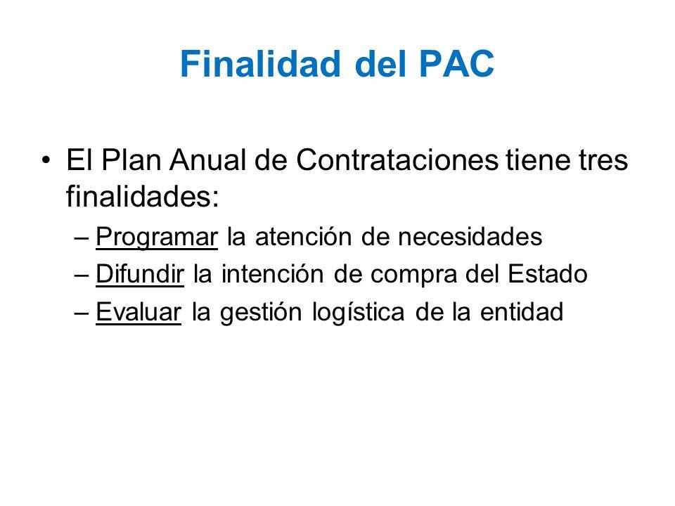 Finalidad del PAC El Plan Anual de Contrataciones tiene tres finalidades: –Programar la atención de necesidades –Difundir la intención de compra del E
