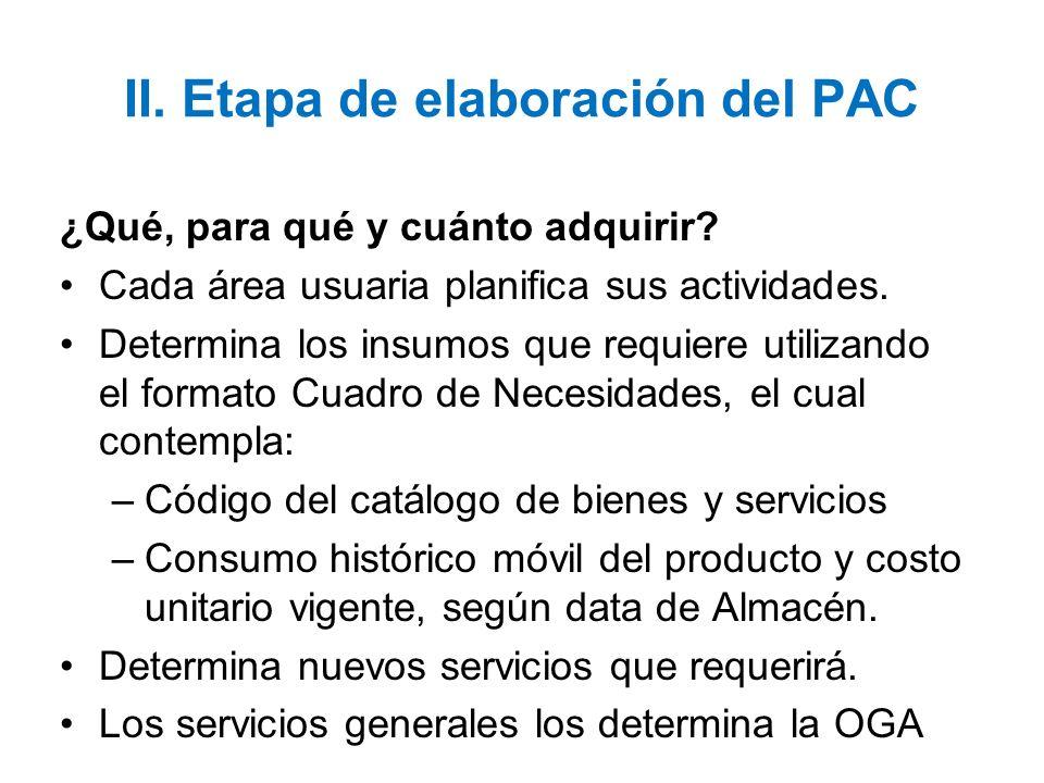 II. Etapa de elaboración del PAC ¿Qué, para qué y cuánto adquirir? Cada área usuaria planifica sus actividades. Determina los insumos que requiere uti