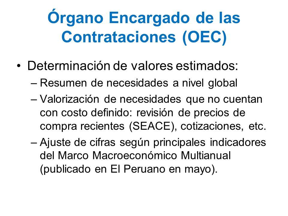 Órgano Encargado de las Contrataciones (OEC) Determinación de valores estimados: –Resumen de necesidades a nivel global –Valorización de necesidades q