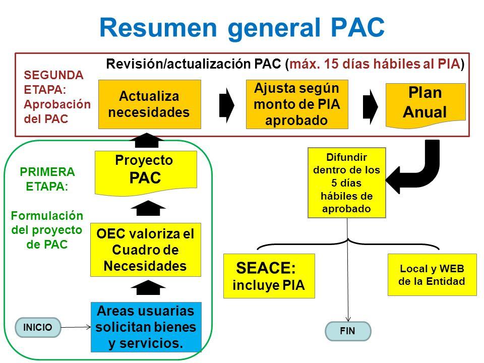 Areas usuarias solicitan bienes y servicios. OEC valoriza el Cuadro de Necesidades SEACE: incluye PIA Local y WEB de la Entidad Resumen general PAC Di