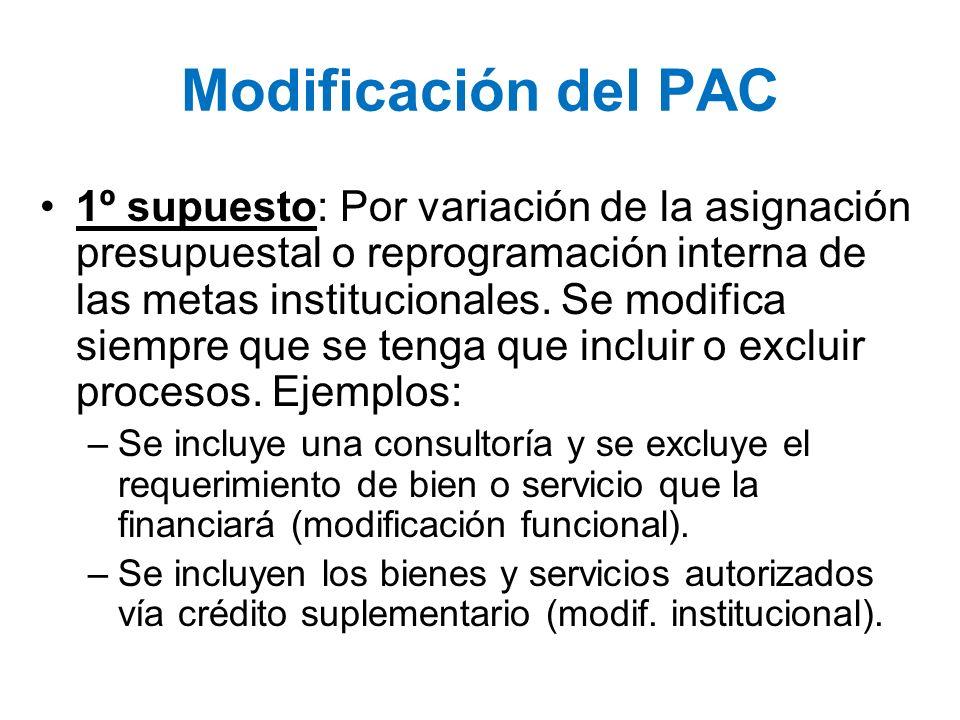 Modificación del PAC 1º supuesto: Por variación de la asignación presupuestal o reprogramación interna de las metas institucionales. Se modifica siemp