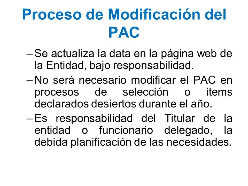 Proceso de Modificación del PAC –Se actualiza la data en la página web de la Entidad, bajo responsabilidad. –No será necesario modificar el PAC en pro