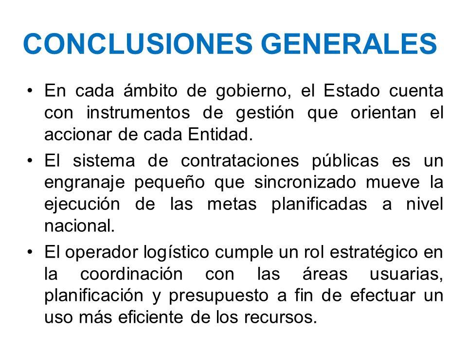 CONCLUSIONES GENERALES En cada ámbito de gobierno, el Estado cuenta con instrumentos de gestión que orientan el accionar de cada Entidad. El sistema d