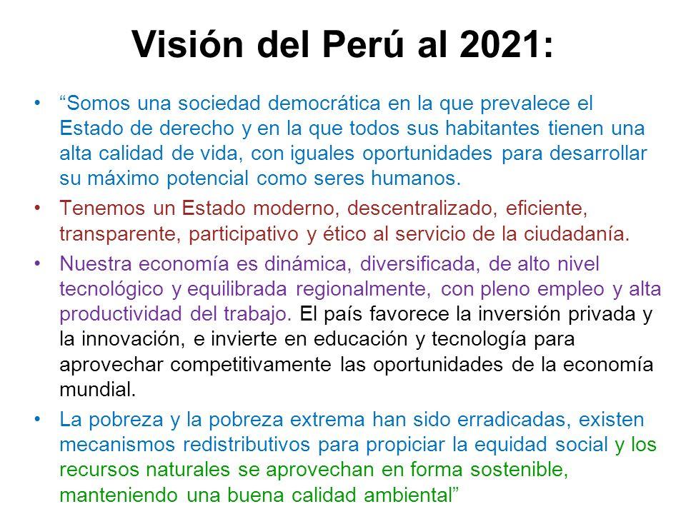 Visión del Perú al 2021: Somos una sociedad democrática en la que prevalece el Estado de derecho y en la que todos sus habitantes tienen una alta cali