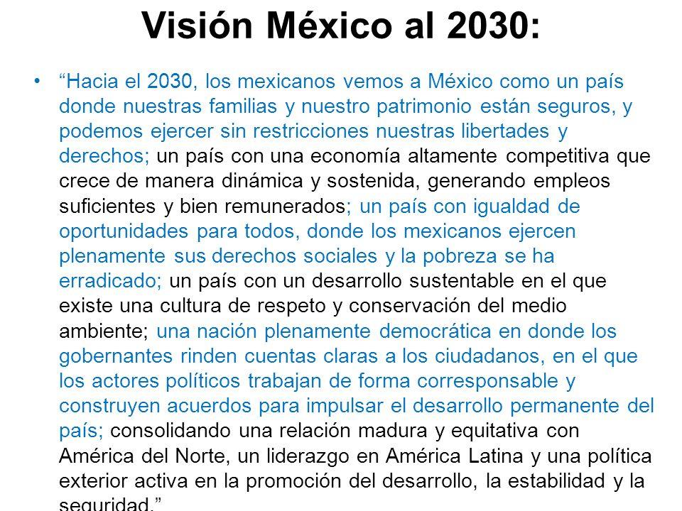Visión México al 2030: Hacia el 2030, los mexicanos vemos a México como un país donde nuestras familias y nuestro patrimonio están seguros, y podemos