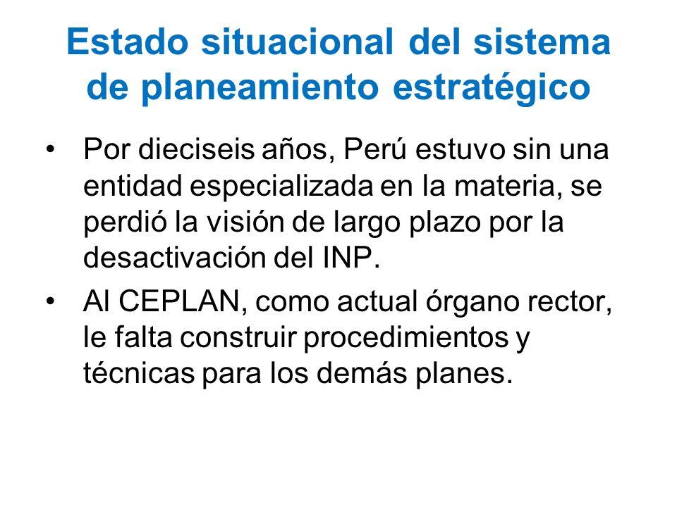 Estado situacional del sistema de planeamiento estratégico Por dieciseis años, Perú estuvo sin una entidad especializada en la materia, se perdió la v