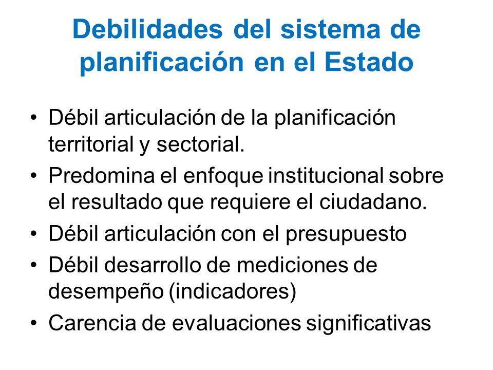 Debilidades del sistema de planificación en el Estado Débil articulación de la planificación territorial y sectorial. Predomina el enfoque institucion