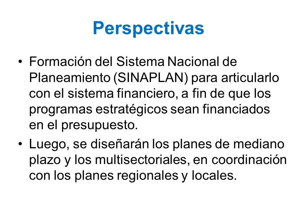 Perspectivas Formación del Sistema Nacional de Planeamiento (SINAPLAN) para articularlo con el sistema financiero, a fin de que los programas estratég