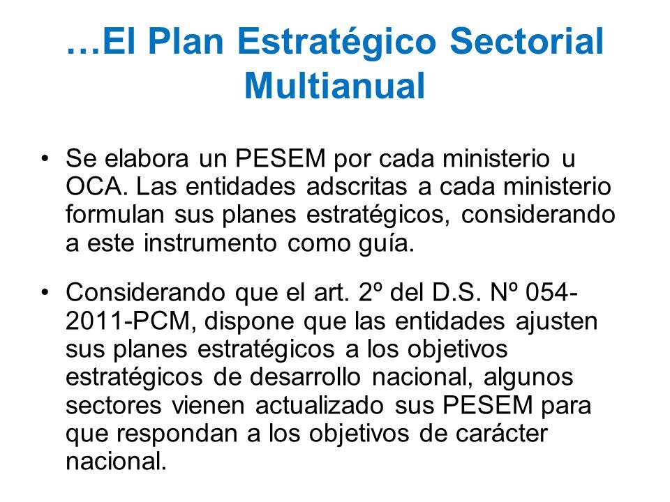 …El Plan Estratégico Sectorial Multianual Se elabora un PESEM por cada ministerio u OCA. Las entidades adscritas a cada ministerio formulan sus planes