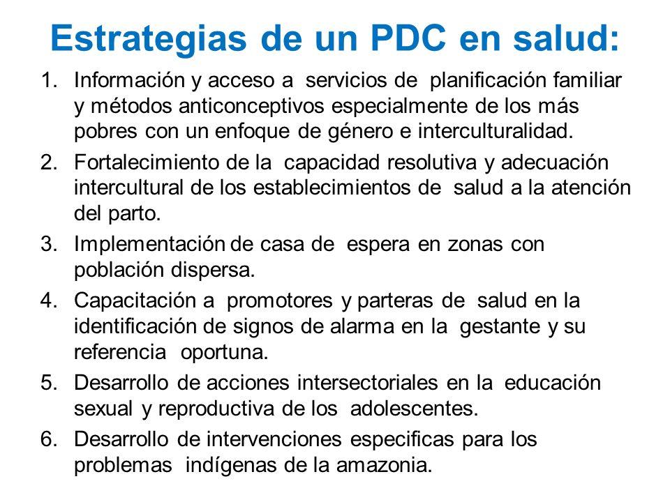 Estrategias de un PDC en salud: 1.Información y acceso a servicios de planificación familiar y métodos anticonceptivos especialmente de los más pobres