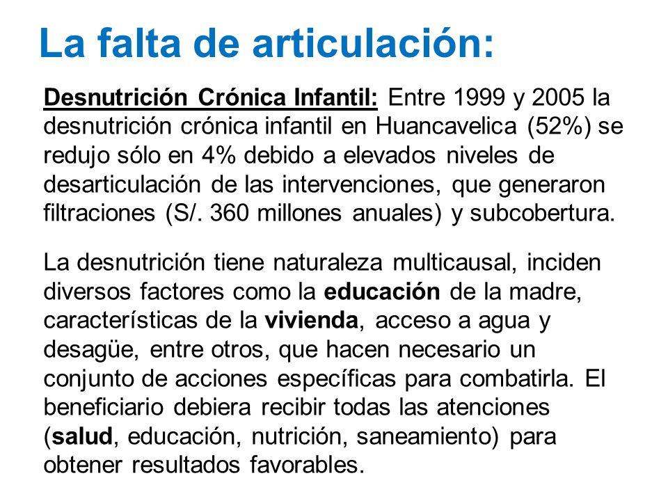 La falta de articulación: Desnutrición Crónica Infantil: Entre 1999 y 2005 la desnutrición crónica infantil en Huancavelica (52%) se redujo sólo en 4%