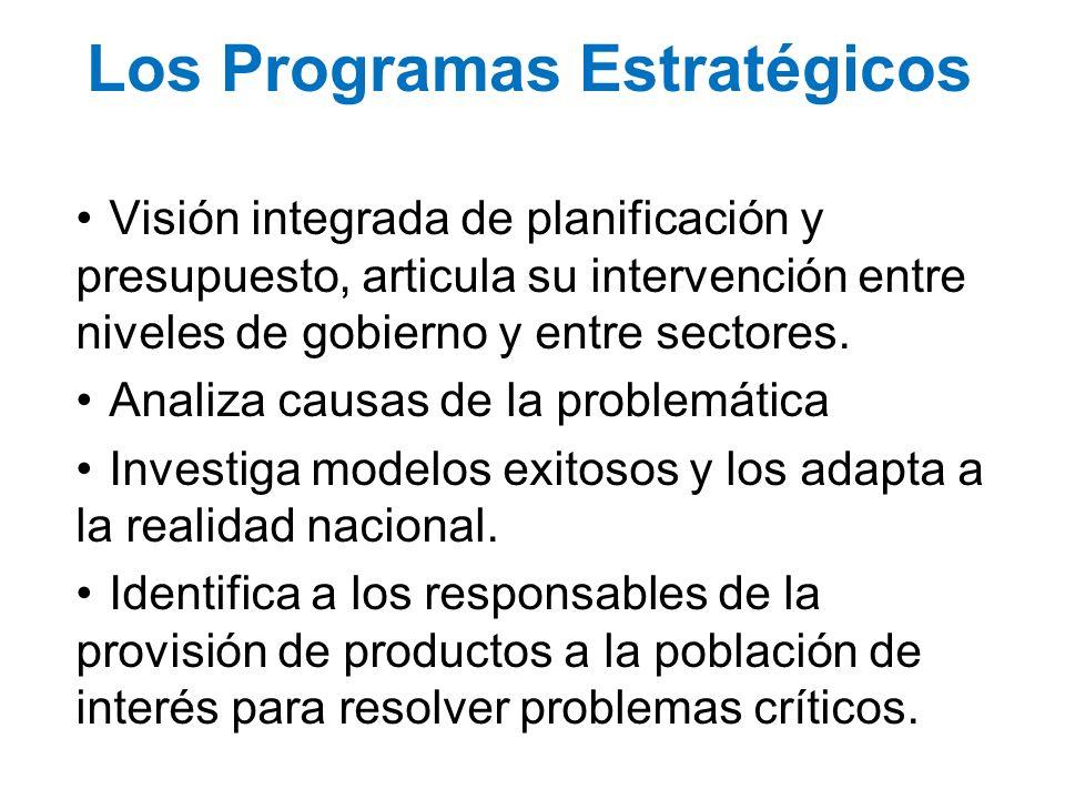 Los Programas Estratégicos Visión integrada de planificación y presupuesto, articula su intervención entre niveles de gobierno y entre sectores. Anali