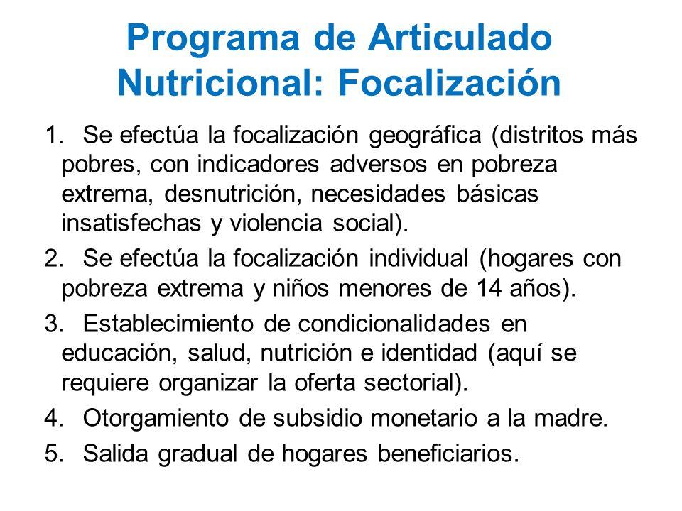 Programa de Articulado Nutricional: Focalización 1.Se efectúa la focalización geográfica (distritos más pobres, con indicadores adversos en pobreza ex