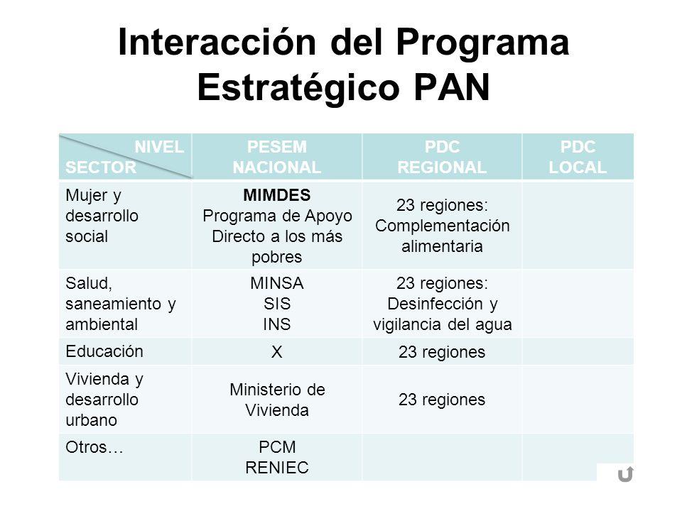 Interacción del Programa Estratégico PAN NIVEL SECTOR PESEM NACIONAL PDC REGIONAL PDC LOCAL Mujer y desarrollo social MIMDES Programa de Apoyo Directo
