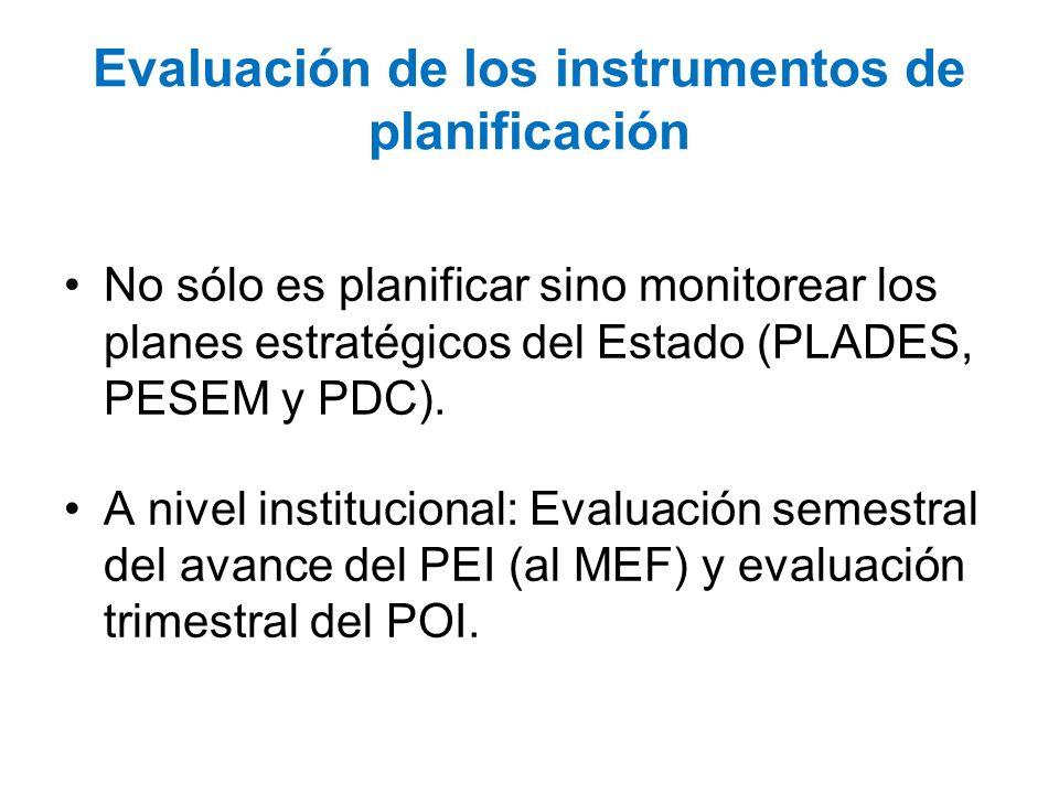 Evaluación de los instrumentos de planificación No sólo es planificar sino monitorear los planes estratégicos del Estado (PLADES, PESEM y PDC). A nive