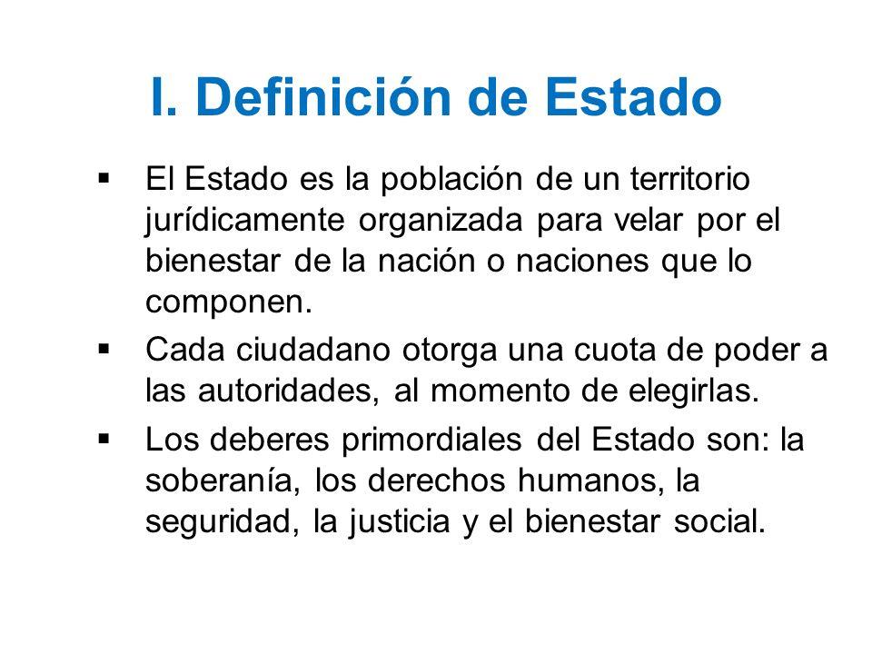 I. Definición de Estado El Estado es la población de un territorio jurídicamente organizada para velar por el bienestar de la nación o naciones que lo