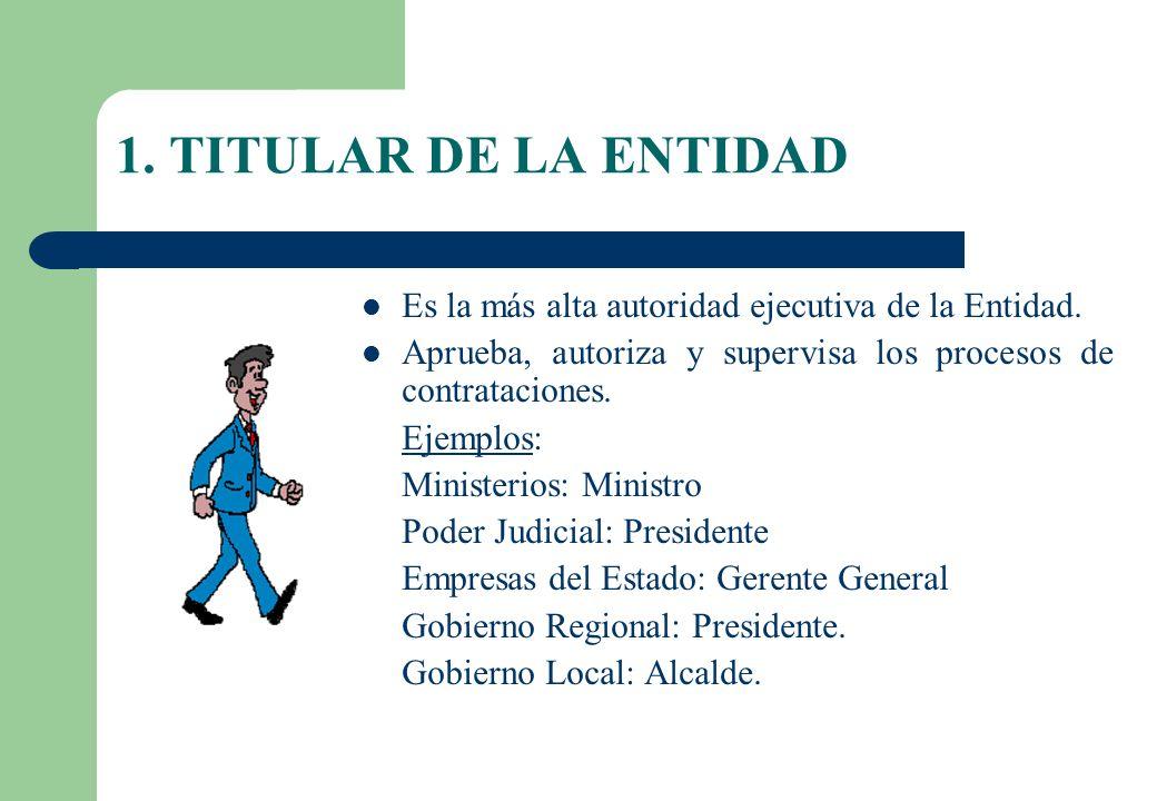 1. TITULAR DE LA ENTIDAD Es la más alta autoridad ejecutiva de la Entidad. Aprueba, autoriza y supervisa los procesos de contrataciones. Ejemplos: Min