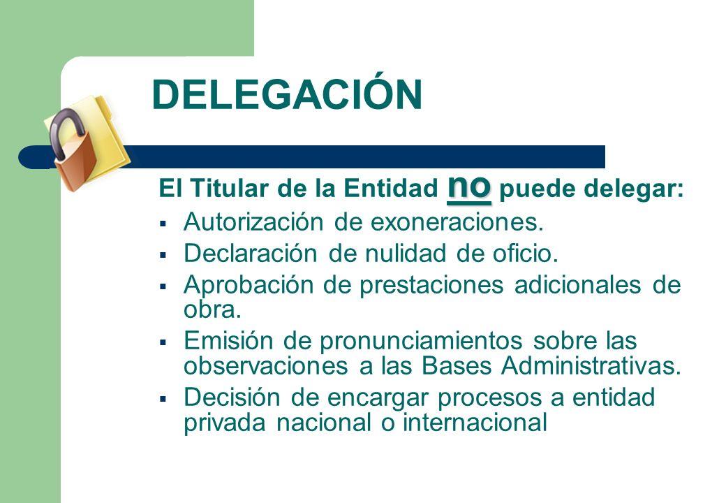 DELEGACIÓN no El Titular de la Entidad no puede delegar: Autorización de exoneraciones. Declaración de nulidad de oficio. Aprobación de prestaciones a