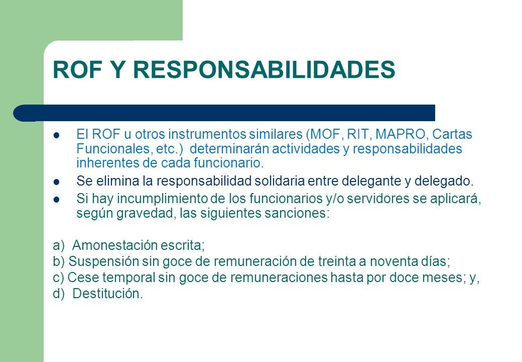 ROF Y RESPONSABILIDADES El ROF u otros instrumentos similares (MOF, RIT, MAPRO, Cartas Funcionales, etc.) determinarán actividades y responsabilidades