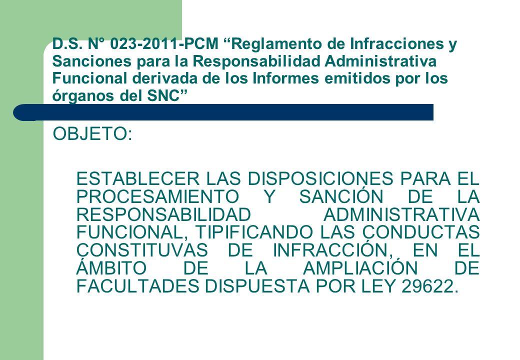 D.S. N° 023-2011-PCM Reglamento de Infracciones y Sanciones para la Responsabilidad Administrativa Funcional derivada de los Informes emitidos por los