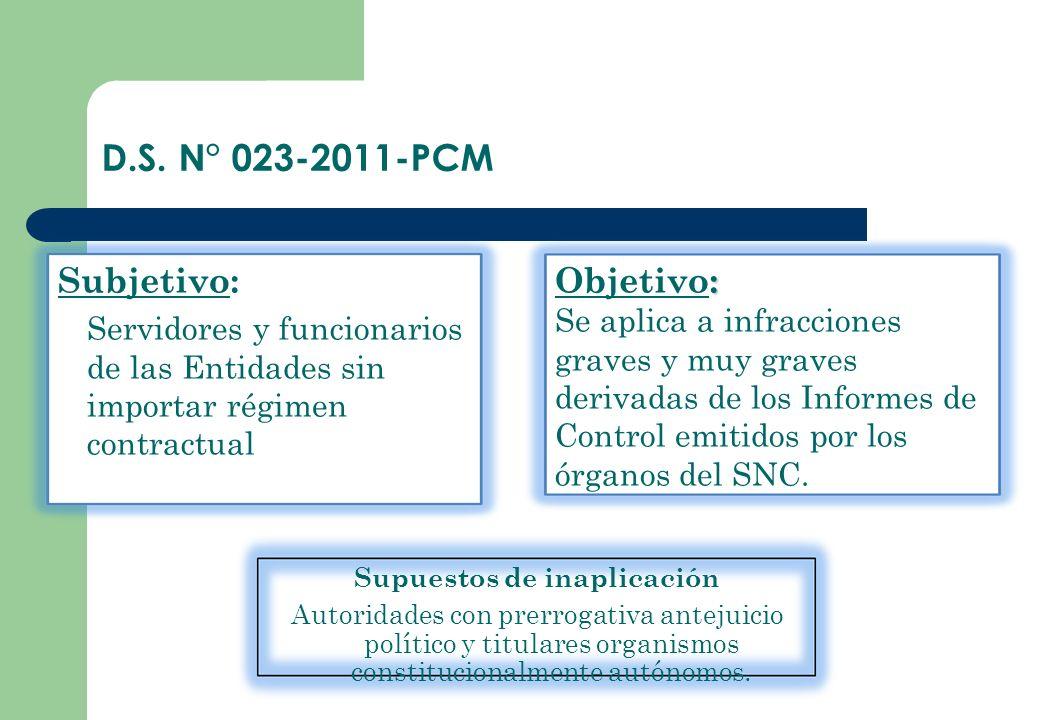 D.S. N° 023-2011-PCM Supuestos de inaplicación Autoridades con prerrogativa antejuicio político y titulares organismos constitucionalmente autónomos.