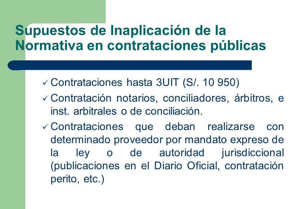 Supuestos de Inaplicación de la Normativa en contrataciones públicas Contrataciones hasta 3UIT (S/. 10 950) Contratación notarios, conciliadores, árbi