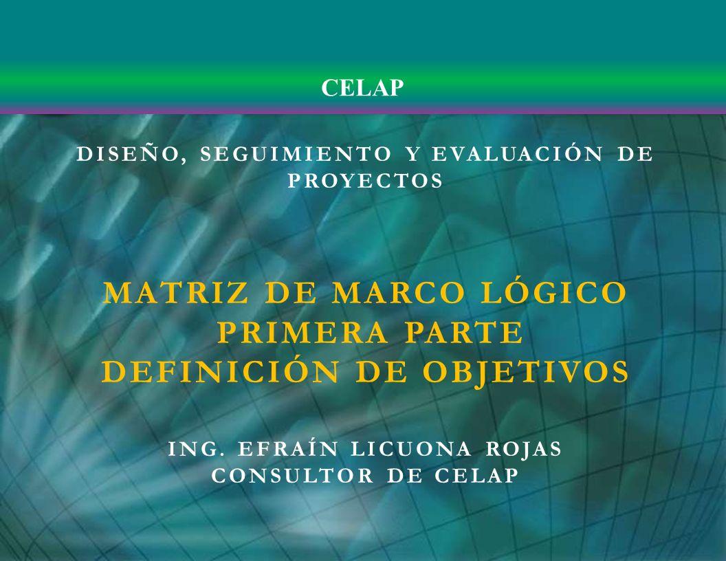 DISEÑO, SEGUIMIENTO Y EVALUACIÓN DE PROYECTOS MATRIZ DE MARCO LÓGICO PRIMERA PARTE DEFINICIÓN DE OBJETIVOS ING. EFRAÍN LICUONA ROJAS CONSULTOR DE CELA