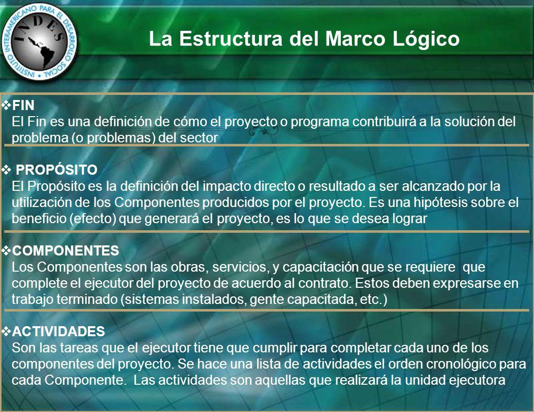 La Estructura del Marco Lógico FIN El Fin es una definición de cómo el proyecto o programa contribuirá a la solución del problema (o problemas) del se