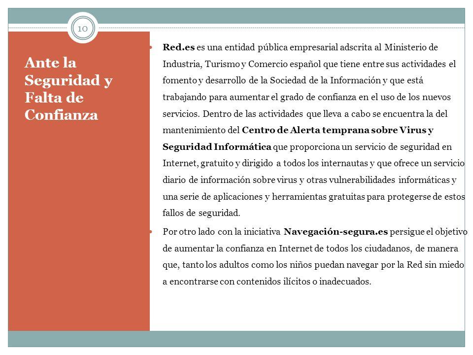 Ante la Seguridad y Falta de Confianza Red.es es una entidad pública empresarial adscrita al Ministerio de Industria, Turismo y Comercio español que t