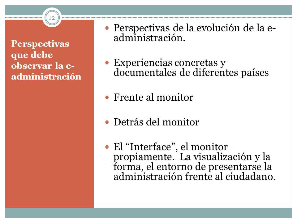 Perspectivas que debe observar la e- administración Perspectivas de la evolución de la e- administración. Experiencias concretas y documentales de dif