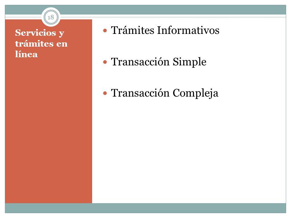 Servicios y trámites en línea Trámites Informativos Transacción Simple Transacción Compleja 18