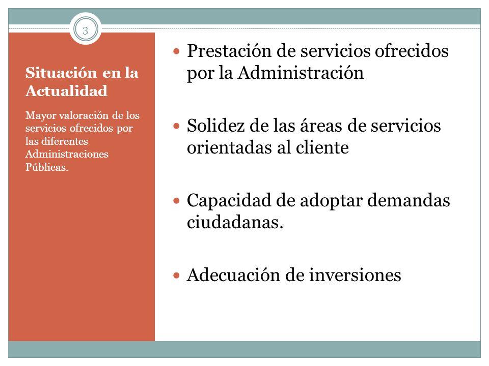 Situación en la Actualidad Mayor valoración de los servicios ofrecidos por las diferentes Administraciones Públicas. Prestación de servicios ofrecidos