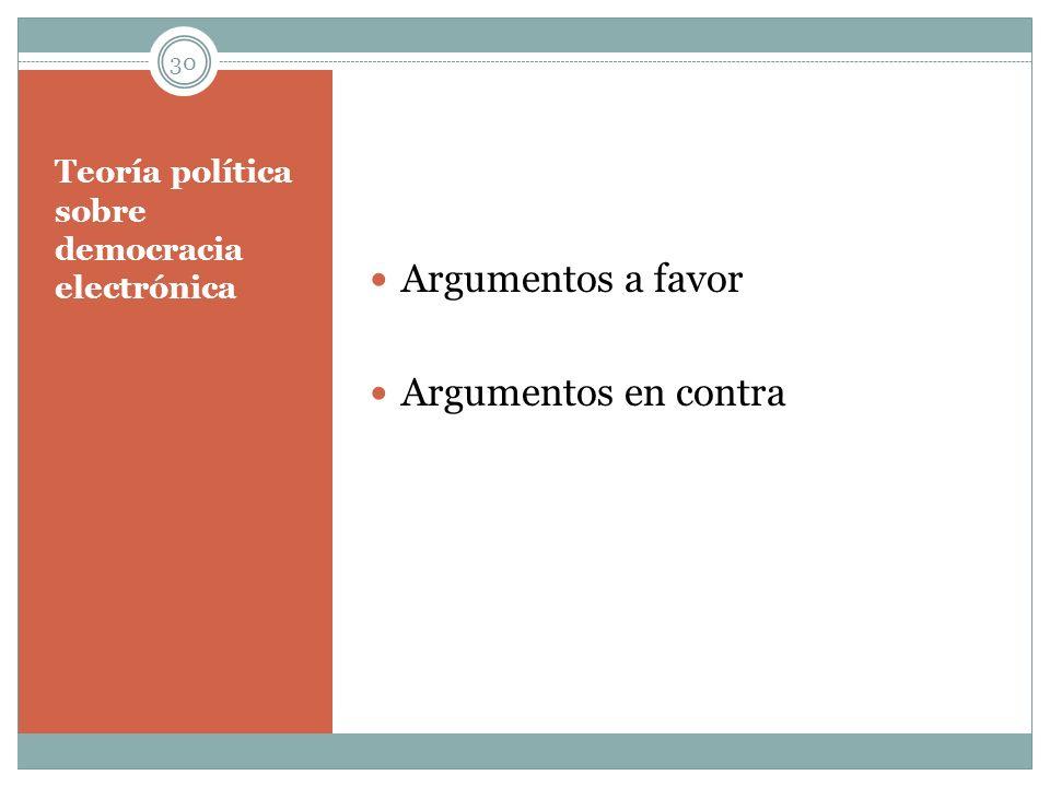 Teoría política sobre democracia electrónica Argumentos a favor Argumentos en contra 30