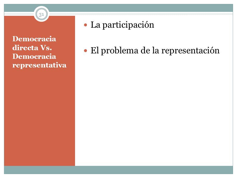 Democracia directa Vs. Democracia representativa La participación El problema de la representación 31