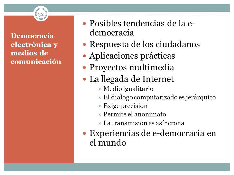 Democracia electrónica y medios de comunicación Posibles tendencias de la e- democracia Respuesta de los ciudadanos Aplicaciones prácticas Proyectos m